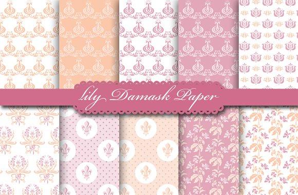 Lily Damask Peach & Mallow Paper