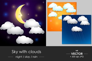 Sky with clouds, day-night-rain