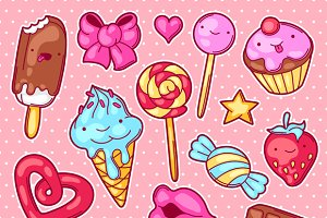 Set of kawaii sweets and candies.