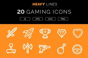 Heavy Lines – 20 Gaming Icons