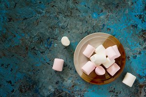 White and pink marshmallows.