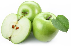 Green apples with half.