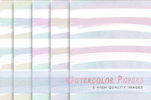 Pastel Watercolour Stripes paper