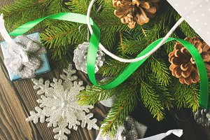 Christmas background on wooden table