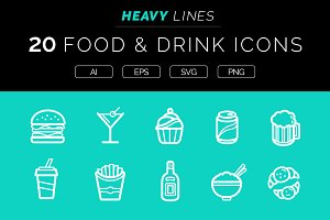 Heavy Lines – 20 Food & Drink Icons