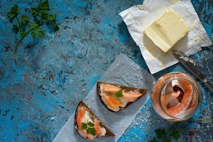 Salted salmon fillets.