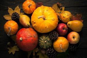 Autumn vegetables at dark wooden table.