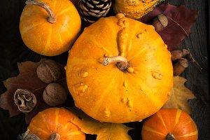 Pumpkins  at dark wooden table