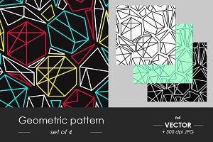 Abstract geometric pattern set of 4