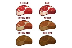 Steak Doneness Icons Set