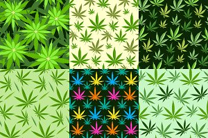 Marijuana background vector set