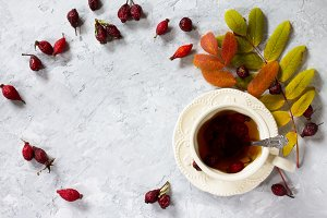 Tea from rose hips.