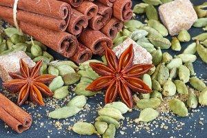 Cinnamon, cardamom, star anise