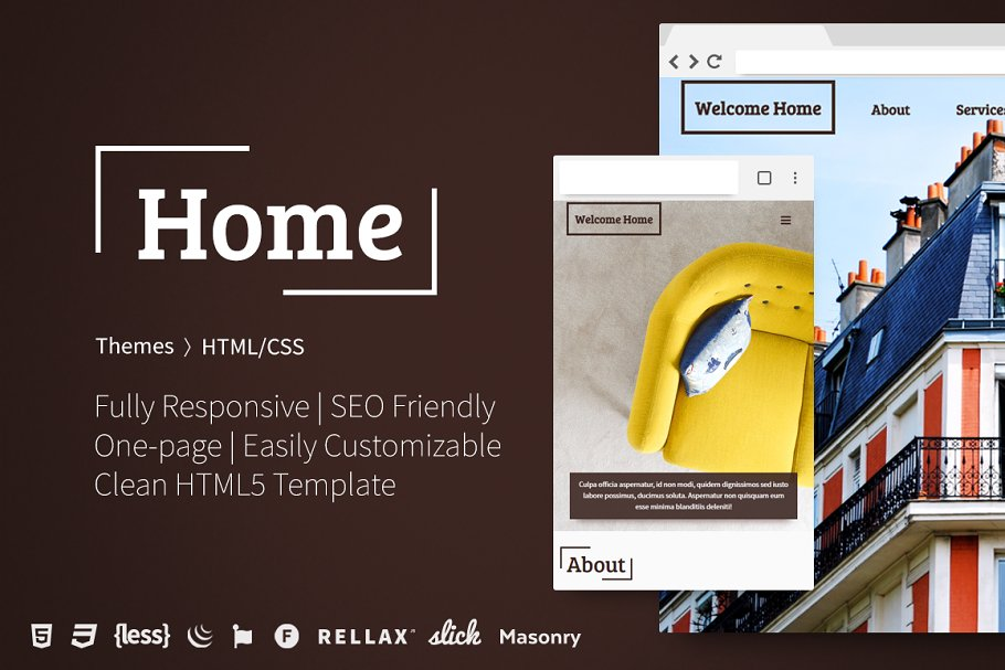 Home One Page Html5 Template Html Css Themes Creative Market