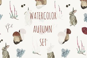 Watercolor autumn set