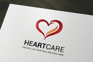 Heart care logo template.