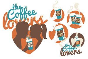 The coffee lovers icon set