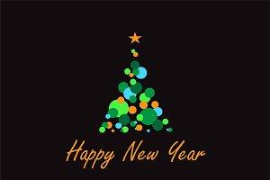 Happy New Year tree vector