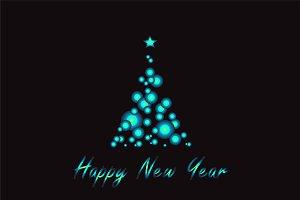 Happy New Year tree neon vector