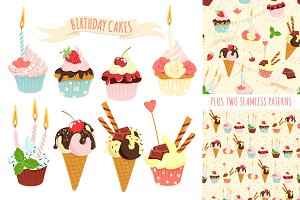 Birthday cupcakes icon set+ patterns