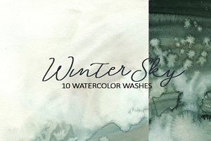Winter Sky Watercolor Grey Washes
