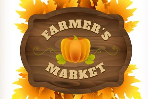 Autumn farmer market wooden board.Ai