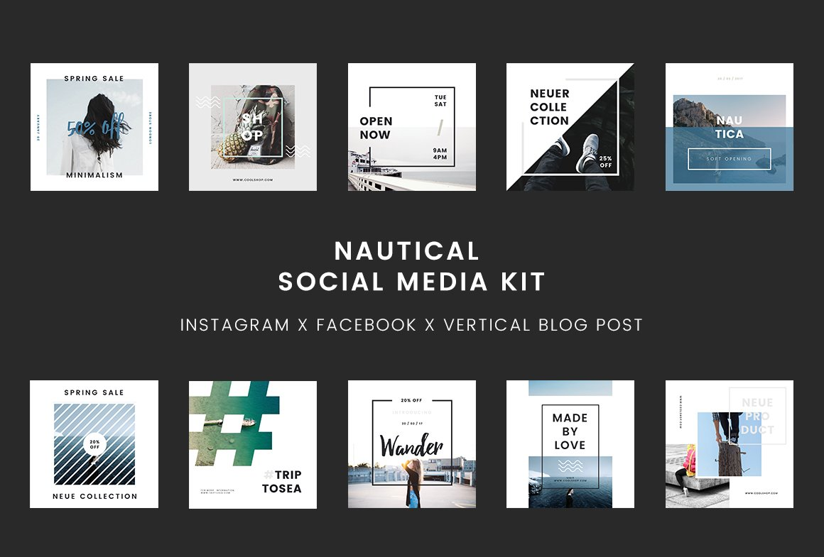 nautical social media kit powerpoint social media templates creative market. Black Bedroom Furniture Sets. Home Design Ideas