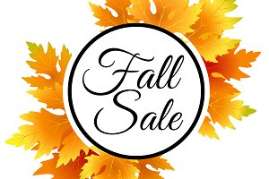 Fall sale. Vector discount banner.