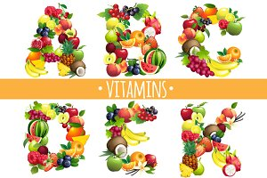 Fruits letters. Vitamins A,B,C,D,E,K