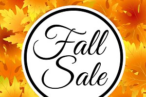 Autumn, fall sale flyer, lettering
