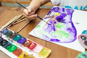 Child painting at home
