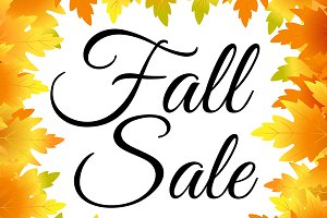 Fall sale vector template with text.