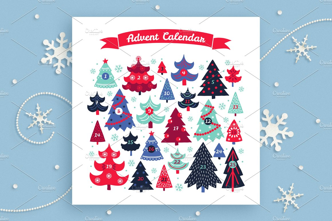 Christmas Calendar Illustration : Christmas advent calendar illustrations creative market