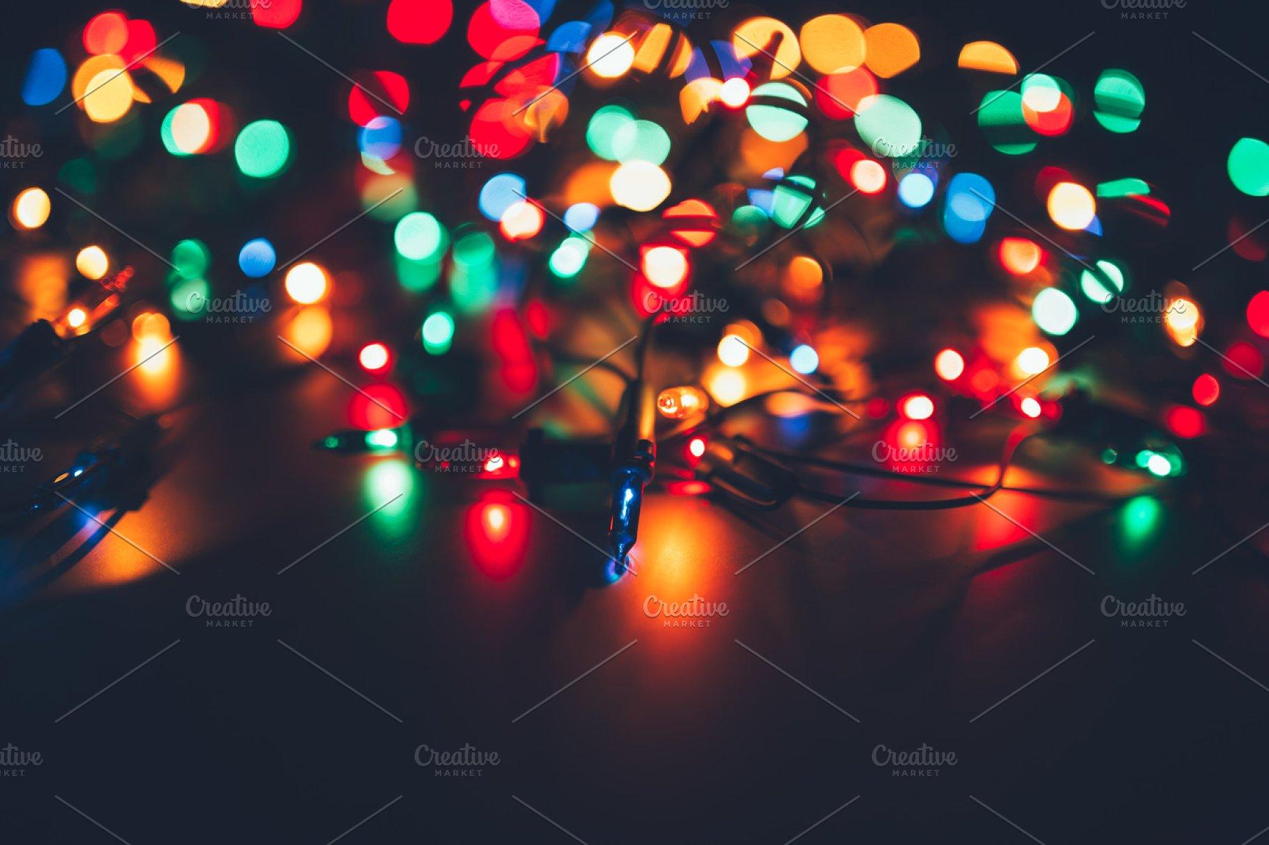 Christmas Lights Background.Christmas Lights On Dark Background Decorative Garland Tinted Photo