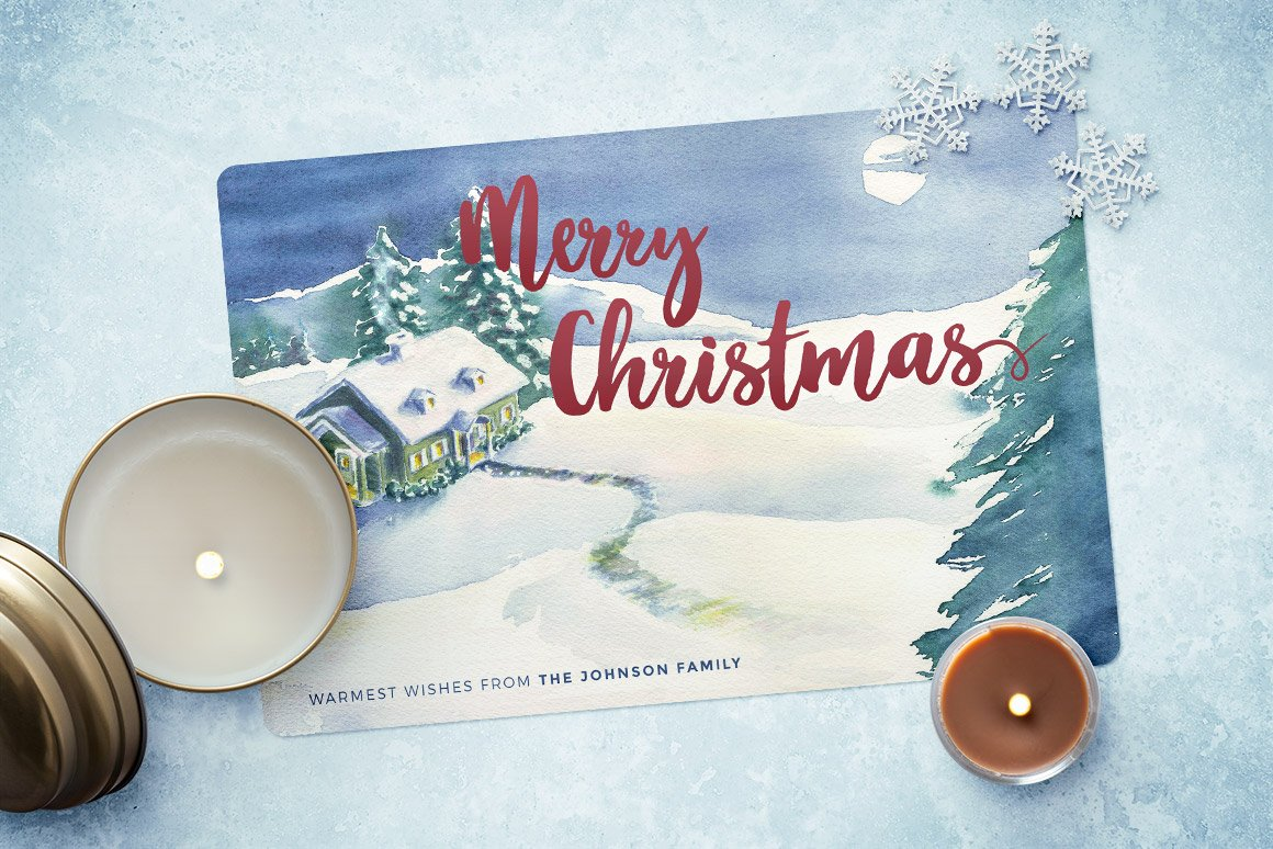 Watercolor Christmas Card Template 4 ~ Card Templates ~ Creative Market