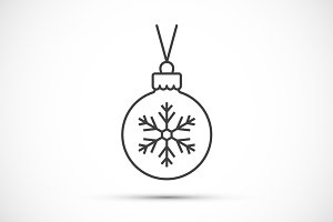 Christmas ball thin line icon