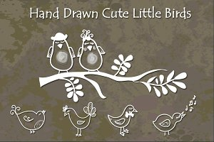 Cute Little Birds - Hand Drawn