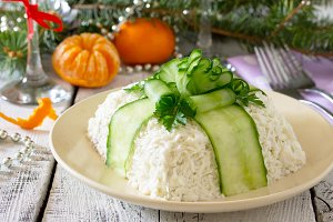 Salad with cucumber decoration