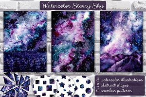 Watercolor Starry Sky Set