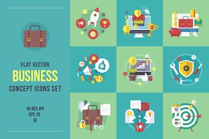 Flat business concept icons set