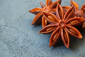 Star anise on black table