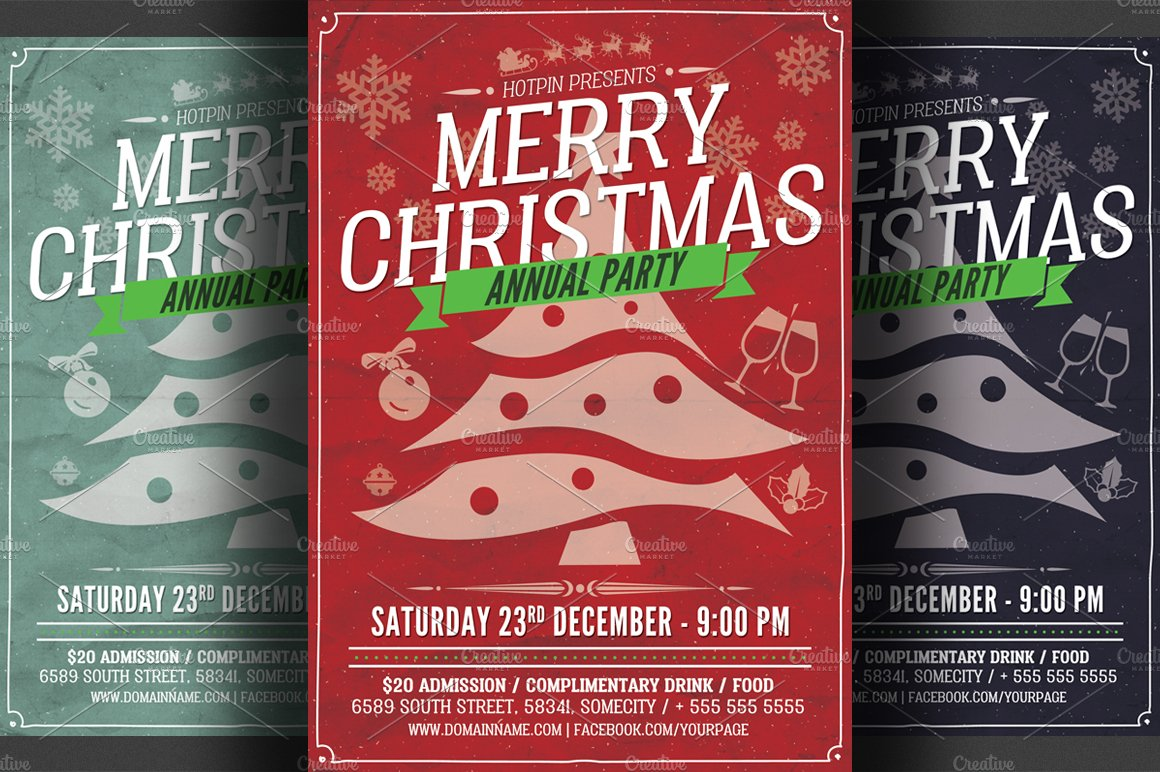 christmas party flyer template flyer templates on creative market