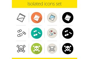 Drugs. 12 icons set. Vector