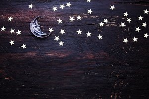 Wooden background with stars