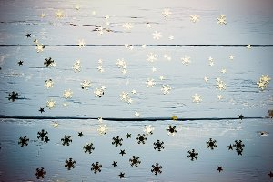 Background with snowflakes and stars