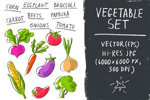 Vector set with vegetables