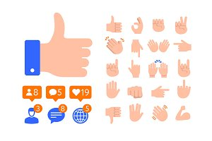 Flat design Thumb icon, Like symbols