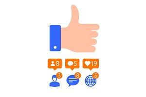 Flat design Thumb icon, Like symbols