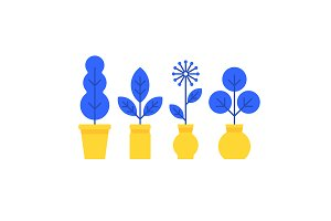 Flat style home plants icons