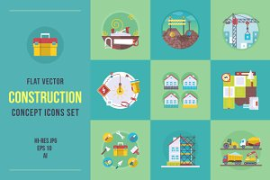 Flat construction icons set